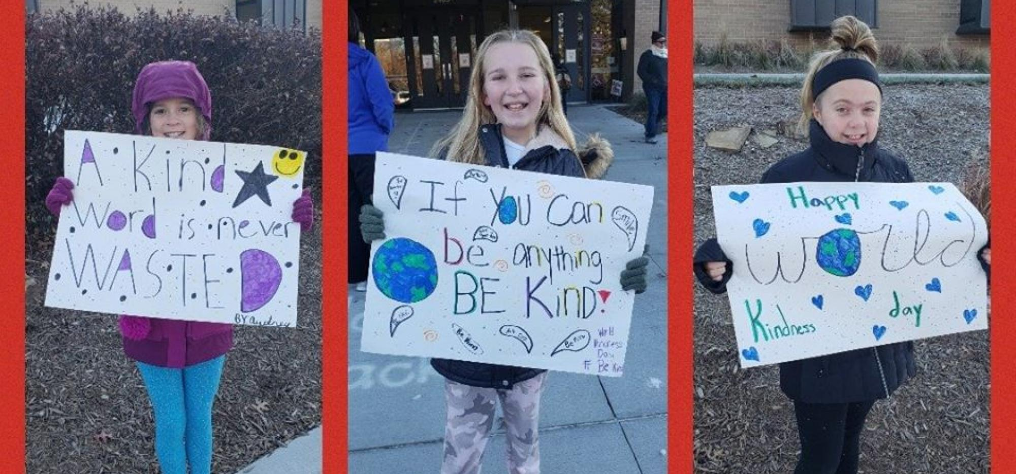 kids with be kind signs